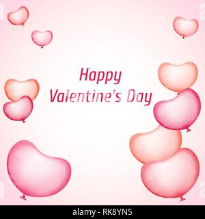 Greeting card for Valentines day. Pink balloons. The shape of a heart. Vector illustration. - Stock Photo