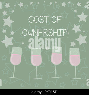 Handwriting text writing Cost Of Ownership. Concept meaning purchase price of asset plus the price of operation Filled Cocktail Wine Glasses with Scat - Stock Photo