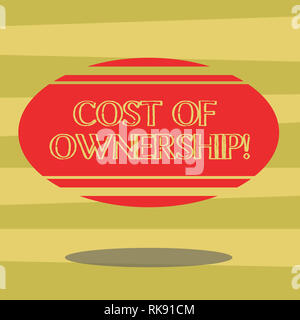 Text sign showing Cost Of Ownership. Conceptual photo purchase price of asset plus the price of operation Blank Color Oval Shape with Horizontal Strip - Stock Photo