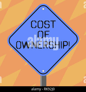 Text sign showing Cost Of Ownership. Conceptual photo purchase price of asset plus the price of operation Blank Diamond Shape Color Road Warning Signa - Stock Photo