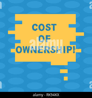 Word writing text Cost Of Ownership. Business concept for purchase price of asset plus the price of operation Blank Color Speech Bubble in Puzzle Piec - Stock Photo