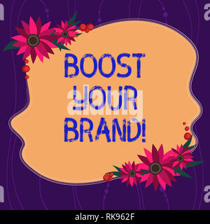 Handwriting text writing Boost Your Brand. Concept meaning describe high levels of overall customer satisfaction Blank Uneven Color Shape with Flowers - Stock Photo