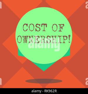 Handwriting text writing Cost Of Ownership. Concept meaning purchase price of asset plus the price of operation Blank Color Circle Floating photo with - Stock Photo