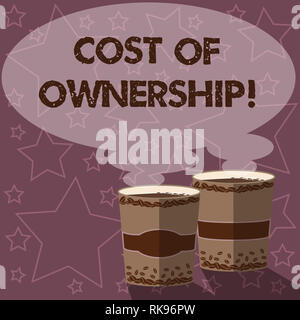 Writing note showing Cost Of Ownership. Business photo showcasing purchase price of asset plus the price of operation Two To Go Cup with Beverage and  - Stock Photo