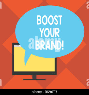 Handwriting text Boost Your Brand. Concept meaning describe high levels of overall customer satisfaction Mounted Computer Monitor Blank Screen with Ov - Stock Photo