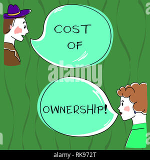 Writing note showing Cost Of Ownership. Business photo showcasing purchase price of asset plus the price of operation Hand Wo analysis Talking photo w - Stock Photo