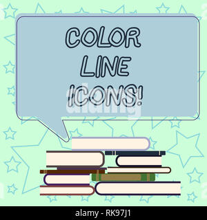 Handwriting text writing Color Line Icons. Concept meaning colored figures help us to go faster in way or open app Uneven Pile of Hardbound Books and  - Stock Photo