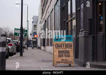 Brewdog Pub entrance in Camden Town, London. - Stock Photo