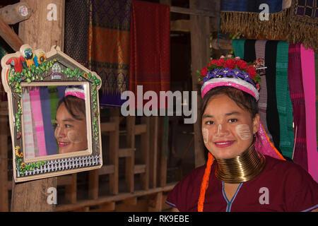 Long neck Karen Woman in Huay Pu Keng, Thailand - Stock Photo