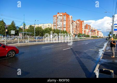 Saint Petersburg, Russia - August 7, 2018: View on Savushkin street in summer sunny day - Stock Photo