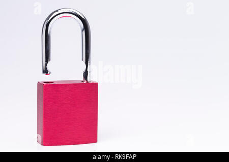 Red padlock closeup isolated on white background - Stock Photo