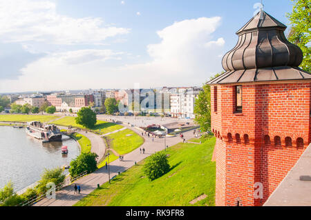 Wiew from Royal Wawel Castle,  on defense tower and Vistula (Wisla) river  with peaple walking. in Krakow, Poland, - Stock Photo