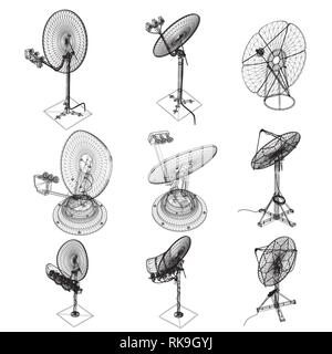 Wireframe satellite dishes. Set with satellite dishes of different types. Isometric. Vector illustration. - Stock Photo