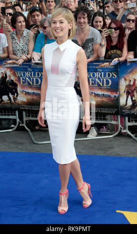 Rosamund Pike arrives at the World Premiere of 'The World's End' at the Empire, Leicester Square, London - Stock Photo