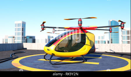 Electric Passenger Drone staying on the top of a building. This is a 3D model and doesn't exist in real life. 3D illustration - Stock Photo