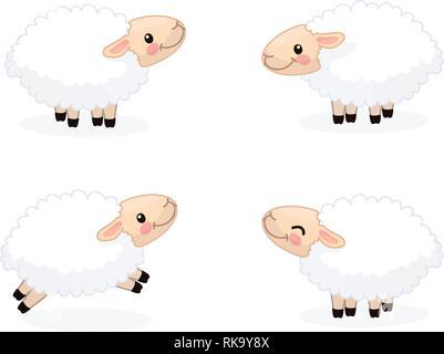 vector cartoon animal clipart: happy cute sheeps - Stock Photo