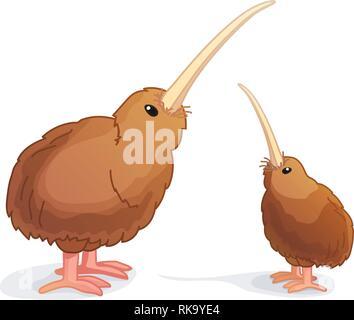 vector cartoon animal clipart: wingless kiwi bird - Stock Photo