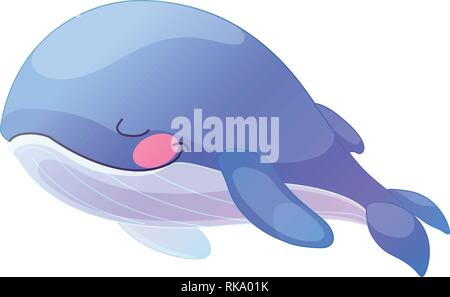vector cartoon animal clipart sleeping blue whale - Stock Photo