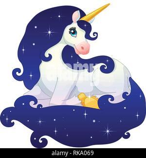 Unicorn silhouette. Vector fairy horse monochrome ...