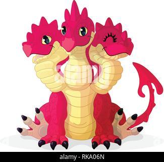 vector cartoon animal clipart: 3 headed red dragon - Stock Photo