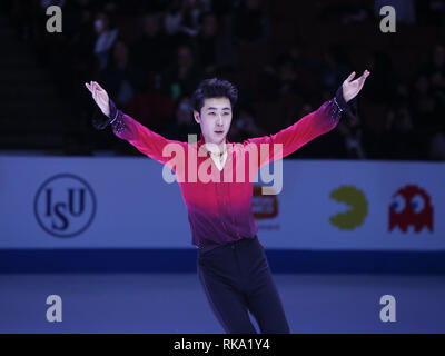Los Angeles, California, USA. 10th Feb, 2019. Silver medal winner Boyang Jin of China poses at the ISU Four Continents Figure Skating Championship at the Honda Center in Anaheim, California on February 9, 2019. Credit: Ringo Chiu/ZUMA Wire/Alamy Live News - Stock Photo