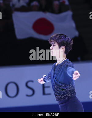 Los Angeles, California, USA. 10th Feb, 2019. Gold medal winner Shoma Uno of Japan poses at the ISU Four Continents Figure Skating Championship at the Honda Center in Anaheim, California on February 9, 2019. Credit: Ringo Chiu/ZUMA Wire/Alamy Live News - Stock Photo