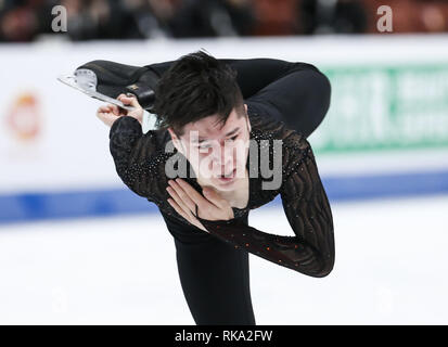 Los Angeles, California, USA. 9th Feb, 2019. He Zhang of China competes in the Men Free Skating during the ISU Four Continents Figure Skating Championship at the Honda Center in Anaheim, California on February 9, 2019. Credit: Ringo Chiu/ZUMA Wire/Alamy Live News - Stock Photo