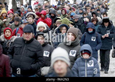 Moscow, Russia. 10th Feb, 2019. MOSCOW, RUSSIA - FEBRUARY 10, 2019: People take part in Mothers' Anger March, an event in support of political prisoners, in Tverskoy Boulevard. Sergei Fadeichev/TASS Credit: ITAR-TASS News Agency/Alamy Live News - Stock Photo