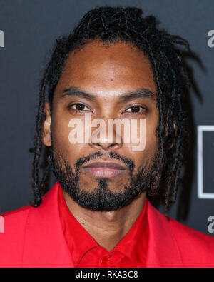 California, USA. 9th Feb 2019.  Singer Miguel arrives at The Recording Academy And Clive Davis' 2019 Pre-GRAMMY Gala held at The Beverly Hilton Hotel on February 9, 2019 in Beverly Hills, Los Angeles, California, United States. (Photo by Xavier Collin/Image Press Agency) Credit: Image Press Agency/Alamy Live News - Stock Photo