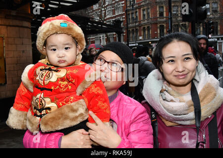 London, UK. 10th Feb 2019. Chinese community hold the annual new year many of parade from China that this year celebrates the year of the Pig in London. Credit: Picture Capital/Alamy Live News - Stock Photo