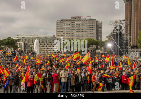 Madrid, Spain. 10th Feb 2019. Thousands of Spanish citizens protested at Colon Square in Madrid against the government of Pedro Sánchez, asking for an election.   In the pictures thousands of people are gathered at Plaza Colón. Credit: Lora Grigorova/Alamy Live News - Stock Photo