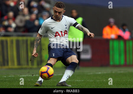 London, UK. 10th Feb 2019. Kieran Trippier of Tottenham Hotspur in action. EPL Premier League match, Tottenham Hotspur v Leicester City at Wembley Stadium in London on Sunday 10th February 2019.  this image may only be used for Editorial purposes. Editorial use only, license required for commercial use. No use in betting, games or a single club/league/player publications . pic by Steffan Bowen/ Credit: Andrew Orchard sports photography/Alamy Live News - Stock Photo