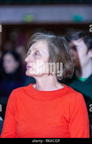 """St Marys College, Falls Road, Belfast, Northern Ireland, UK. 10th February 2019. Gereldine Finucane (Widow of murdered Human Rights lawyer Pat Finucan) at """"A Community Reflects' on the murder of of her Husband Pat Finucane. The Family are still waiting for a Full Public enquiry in to the Solicitors Murder. Credit: Bonzo/Alamy Live News - Stock Photo"""