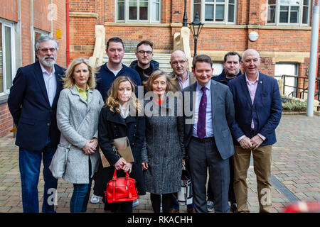 St Marys College ,Falls Road, Belfast, Northern Ireland, UK. 10th February 2019.  Geraldine Finucane (centre) with her family and Gerry Adams (left) attend a 30th anniversary memorial lecture for murdered Solicitor Pat Finucane. Credit: Bonzo/Alamy Live News - Stock Photo