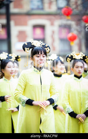 Manchester, UK. 10th Feb 2019. Thousands of spectators lined the streets during this year dragon parade which weaved through the streets of China Town to celebrate the year of the pig. Credit: Andy Barton/Alamy Live News - Stock Photo