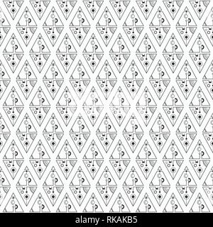 Abstract seamless pattern with triangles, separated with lines and circles. Set of isolated geometric elements. Line design. Abstract sacred geometry. - Stock Photo