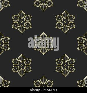 Abstract geometric floral ornament seamless pattern. Symmetric shapes. Stylish background. Vector repeating texture. - Stock Photo