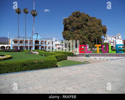 Scenic main square in front of town hall and cypress tree with stoutest trunk in Santa Maria del Tule city in Mexico - Stock Photo