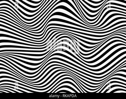 Abstract background of black and white stripe line pattern wavy design. vector eps10 Stock Photo