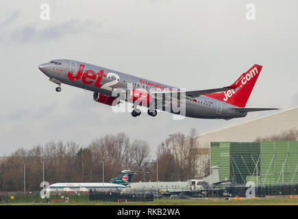 Jet2 Boeing 737-8MG, G-JZHR takes off from Manchester Airport - Stock Photo