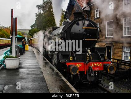 Thompson B1 at Grosmont on the North Yorkshire Steam Railway - Stock Photo