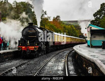 Thompson B1 leaving Grosmont on the North Yorkshire Steam Railway - Stock Photo