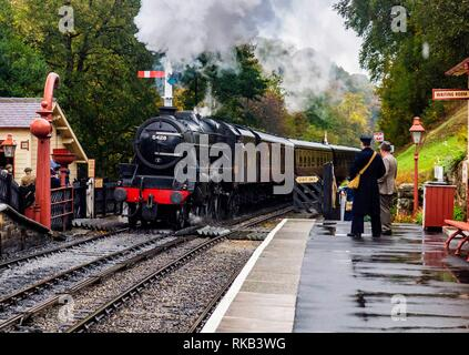 Thompson B1 arriving at  Gothland (Aidensfield) on the North Yorkshire Steam Railway - Stock Photo