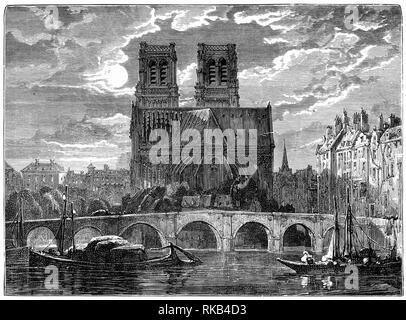 Engraving of the cathedral of Notre Dame in Paris. - Stock Photo