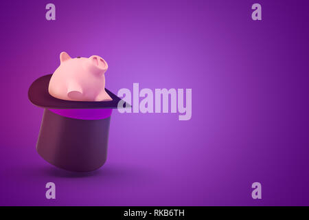 3d rendering of a black tophat upside down with a cute piggy bank sitting inside on a purple background with lots of copy space on the right. - Stock Photo