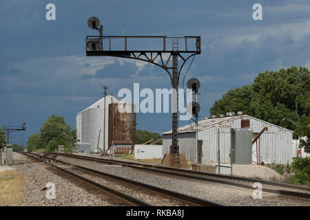 Vintage searchlight-style railroad signals protect the mainline of