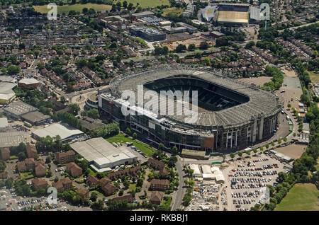 Aerial view of the famous rugby stadium in Twickenham, South West London.  Home of the England Rugby Football Union.  The smaller Stoop Memorial Groun - Stock Photo