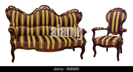 Stripe baroque rokoko sofa and chair, isolated on white - Stock Photo