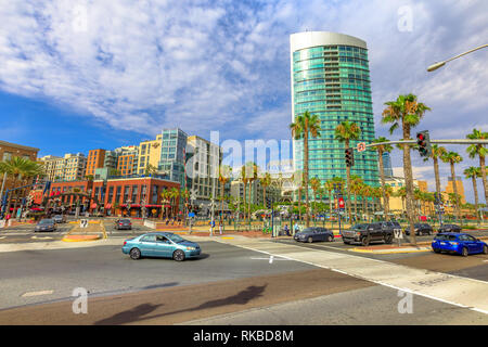 San Diego, California, United States - July 31, 2018: crossing between Harbor Drive and San Diego Trolley and between Marina district and Gaslamp - Stock Photo
