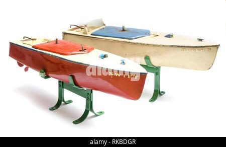 1930's clockwork model speedboats by Hornby - Stock Photo